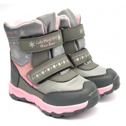 Термоботинки Tom M 5889a-grey-pink, зимние детские сапоги