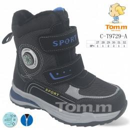 Термоботинки Tom M 9729A Black, зимние детские сапоги